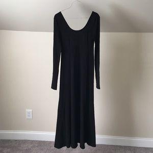 FREE PEOPLE Black Scoop Neck Semi-Sheer Maxi Dress